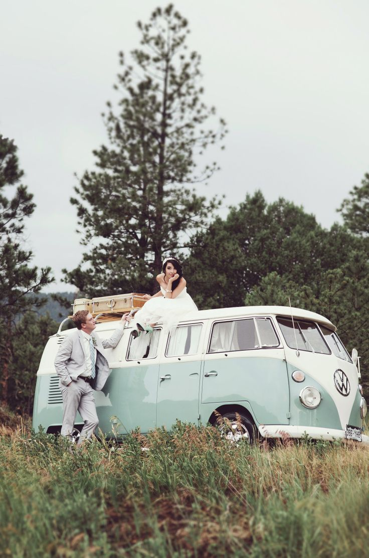 Picture on my dad's prized VW bus. VW bus at a mountain wedding. Mint blue wedding. Vintage wedding.