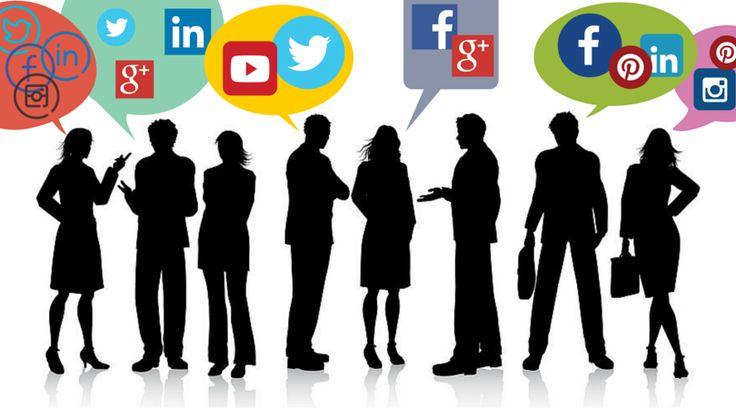 Grafisk bilde av ansatte som snakker om sosiale medier. Snakkebobler med ikoner for forskjellige sosiale medieplattformer.