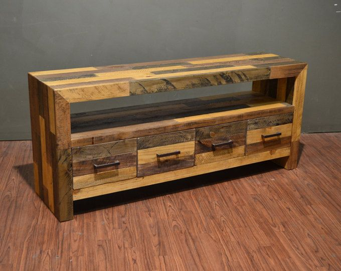 Rustic Solid Wood 65 Inches TV Stand / Media Console / Console Table with 4 Drawers #ad