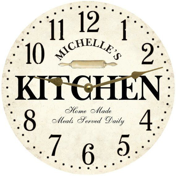Personalized Kitchen Wall Clock- White Kitchen Clock | Cream ...