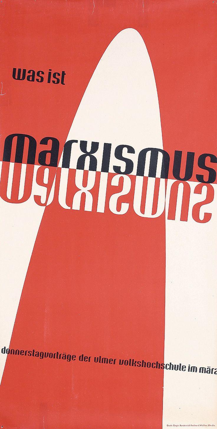 Original 1940s German Design Poster AICHER Art Marxism  Estimated Price: $280 - $500  Description: Aicher, Otl 1922 - 1991. Was ist Marxismus?. Offset 1949 . Size: 32.6 x 16.5 in. (83 x 42 cm) . Printer: Ferdinand Walcher, Ulm .