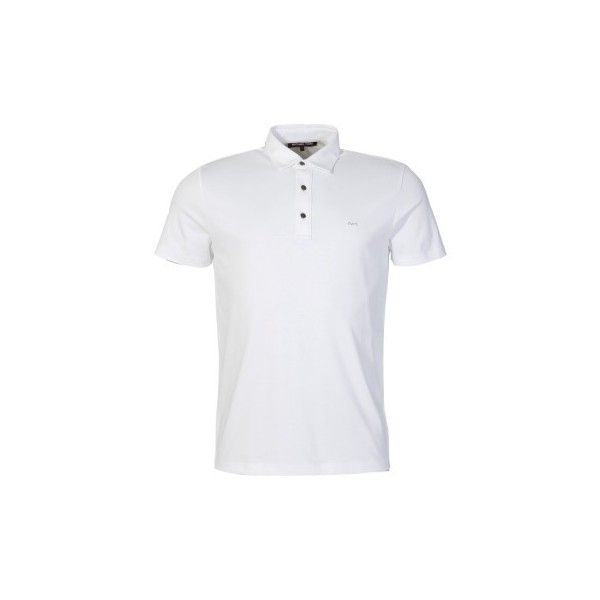 Michael Kors White Polo Shirt ($89) ❤ liked on Polyvore featuring tops, white summer tops, summer tops, polo collar shirts, white short sleeve top and white collar top