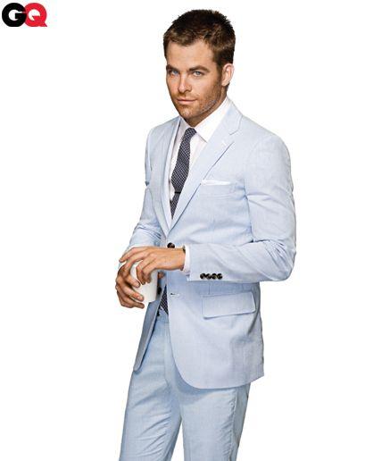 Men's light blue summer suit
