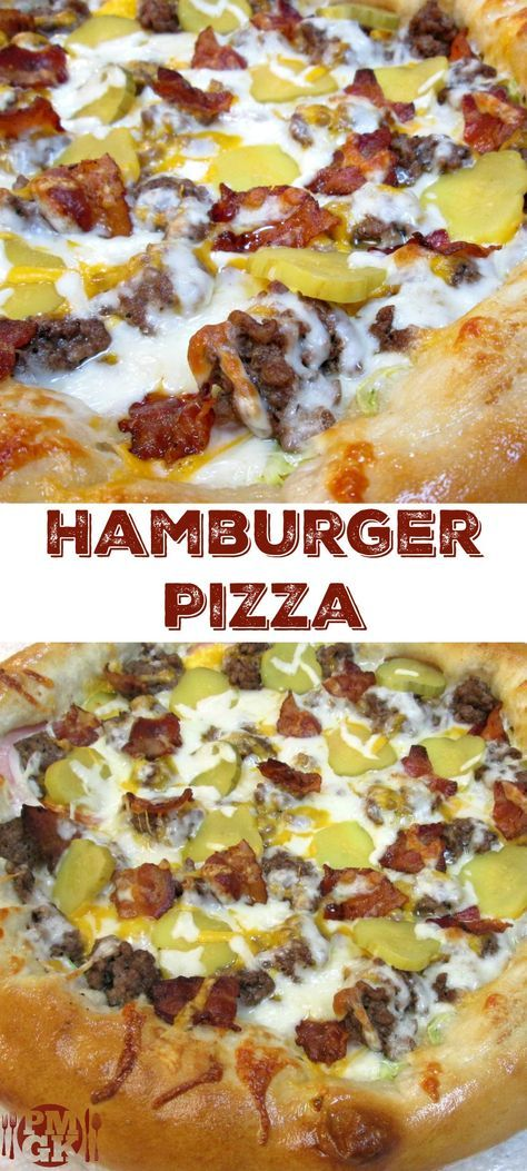 """The Best Hamburger Pizza This Hamburger Pizza recipe is amazing and it will trip you out if you've never had one before. It's absolutely the best of both worlds, """"Fo-Show""""! This Pizza tastes just like a double bacon cheese burger, it's that good! But don't take my word for it. Be sure to watch the short video tutorial. Poor Man's Gourmet KItchen"""
