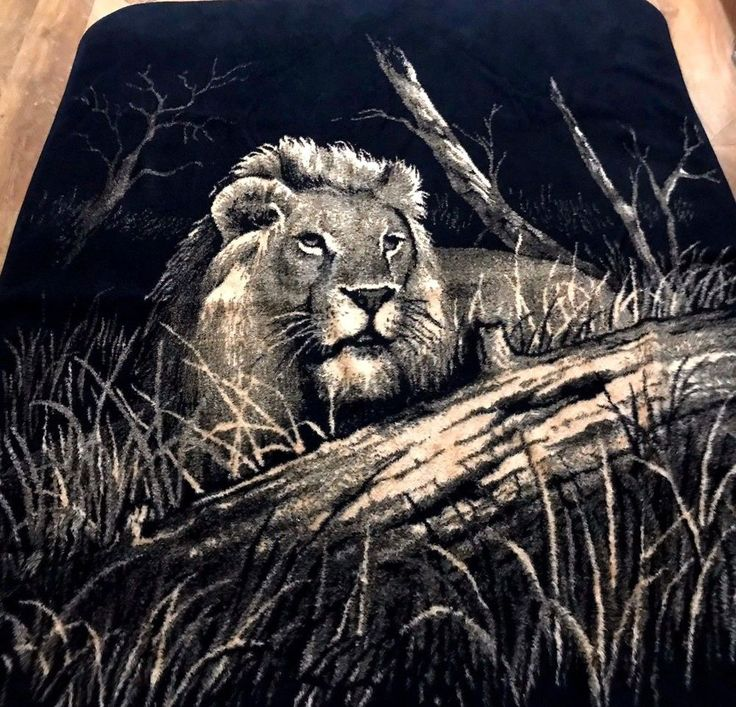 Vintage San Marcos Lion Lying In Grass Blanket Black Tan Reversible 70 x 90 | Collectibles, Linens & Textiles (1930-Now), Bed & Bath Linens | eBay!