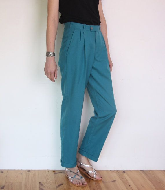 80's turquoise pants high waisted creased by WoodhouseStudios