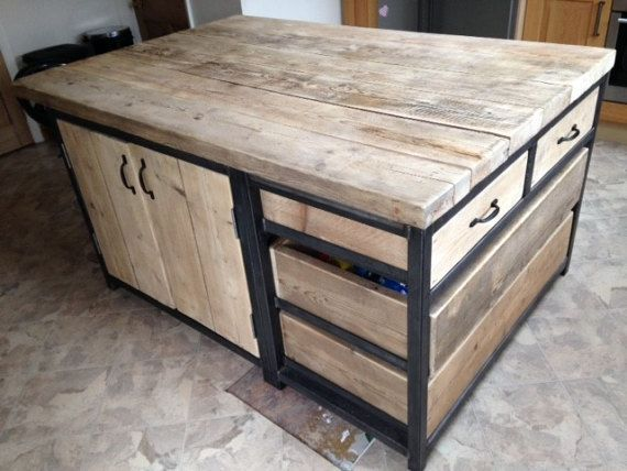 Reclaimed Industrial steel kitchen island unit with drawers