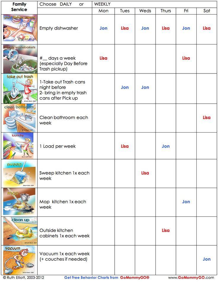 charts for kids behavior and chores | Chore Chart for OLDER KIDS for GOOD BEHAVIOR!