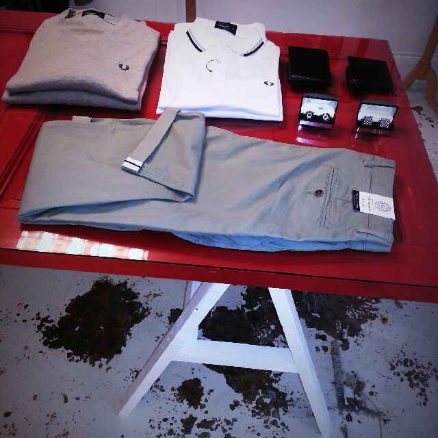 #quintessential men sweater and polo from Fred Perry #cufflinks and wallets #Ben Sherman chinos with turn up and a piped detail at the hem# #hybridshopping #bergen