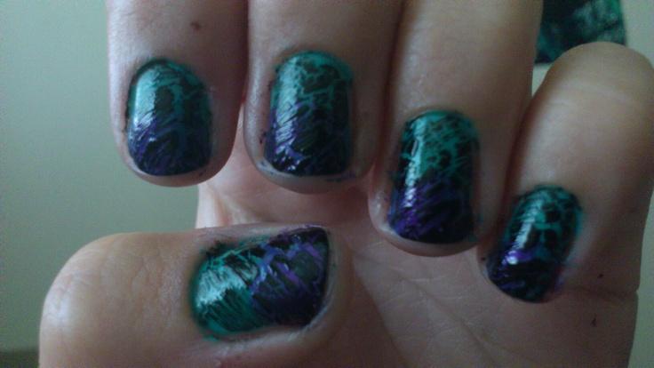 Purple and teal crackle!!!: Purple, Teal Crackle, Nail Art
