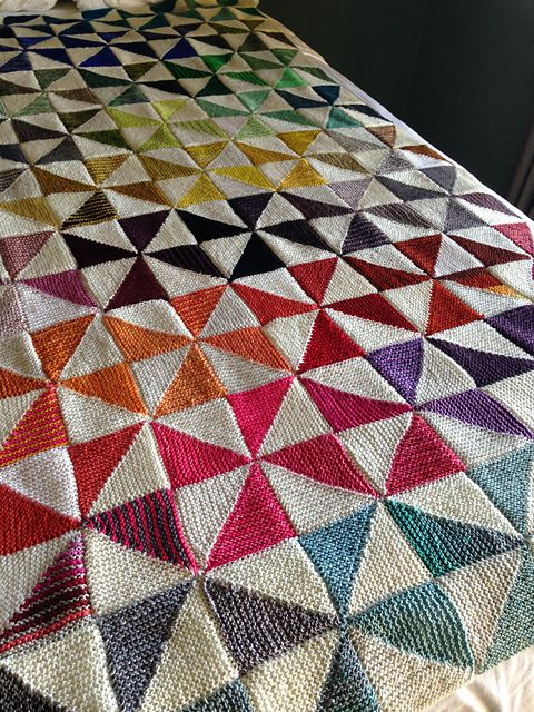 Grace Ahkrem Triangles, Diamonds, and Squares Blanket Knitting Pattern
