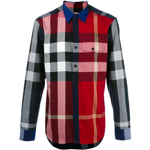 Burberry Checked Shirt (455 CAD) ❤ liked on Polyvore featuring men's fashion, men's clothing, men's shirts, men's casual shirts, mens checkered shirts, mens red shirt, mens red checkered shirt, mens cotton shirts and mens red checked shirt