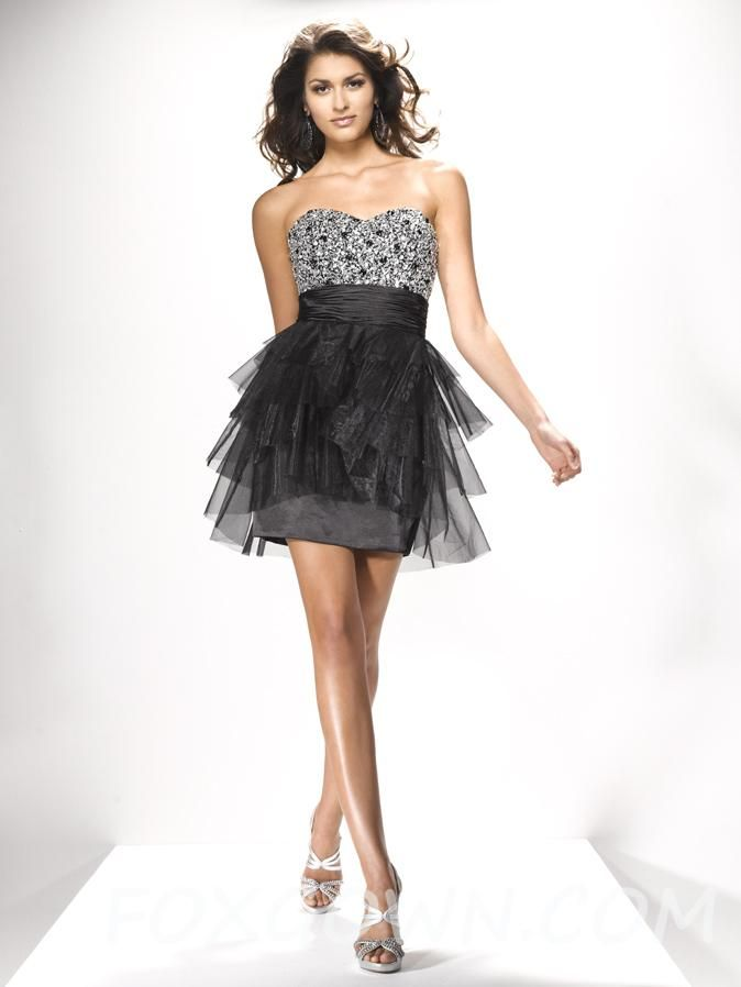 black fun party short strapless prom dress