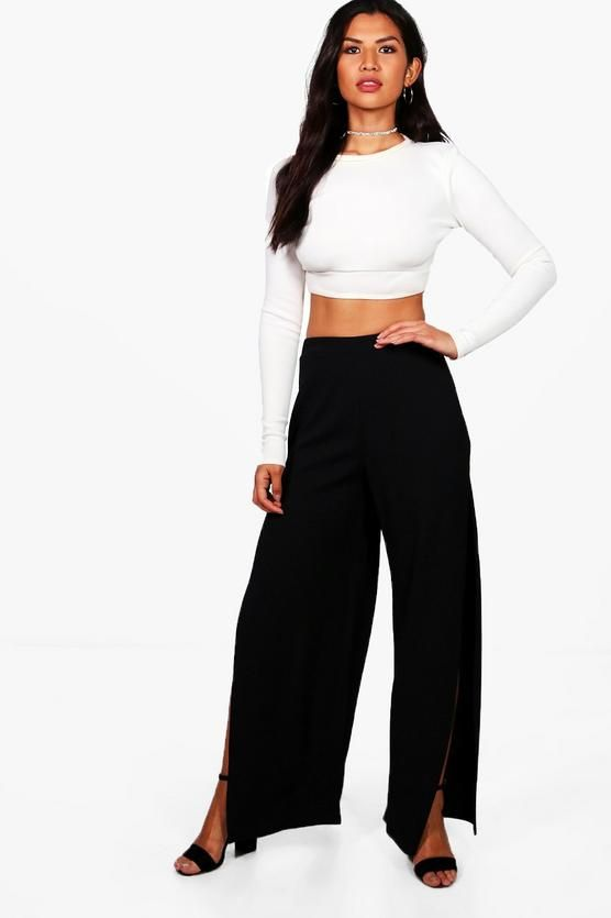 eec1d7bfb124 Niamh Thigh Split Crepe Wide Leg Trousers | FALL/WINTER'17 ...