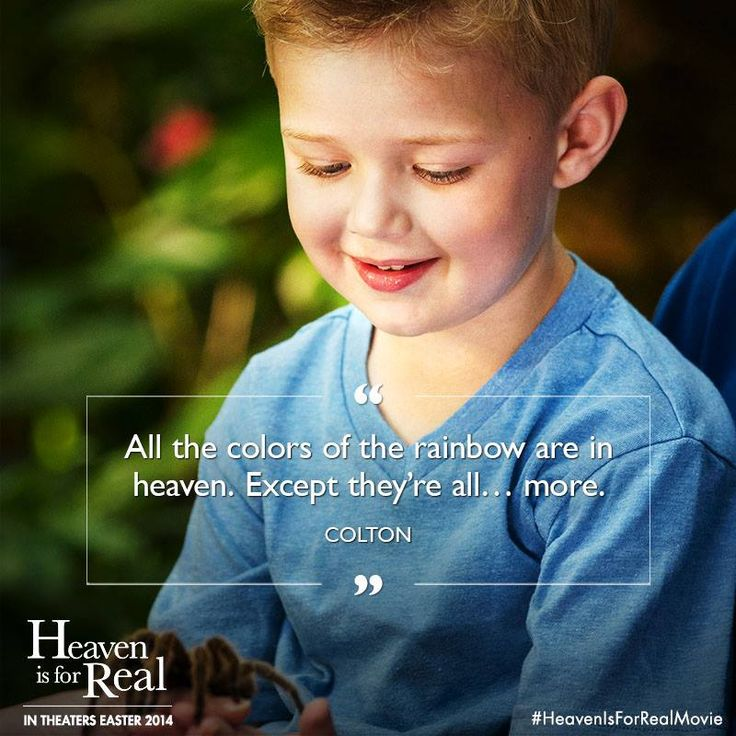 """All the colors of the Rainbow are in Heaven. Except they're all… more."" ~ Colton / ""Heaven Is For Real"" Movie Character _____________________________ Reposted by Dr. Veronica Lee, DNP (Depew/Buffalo, NY, US)"
