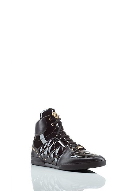 Versace High Top Patent Leather Sneakers