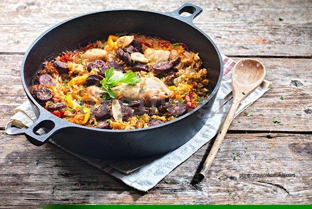 Πιλάφι τρικολόρε (Κοτόπουλο με λαχανικά και ρύζι)