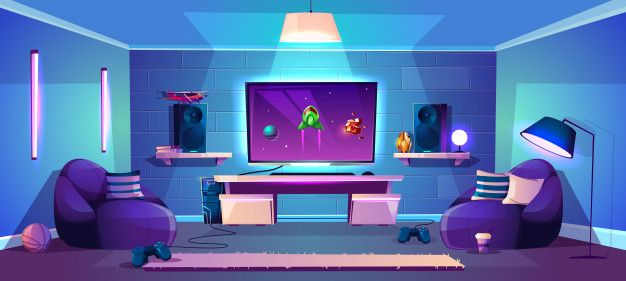 Download Vector Game Room Illustration Modern Esports Concept For Free Vector Game Cartoon Background Anime Backgrounds Wallpapers