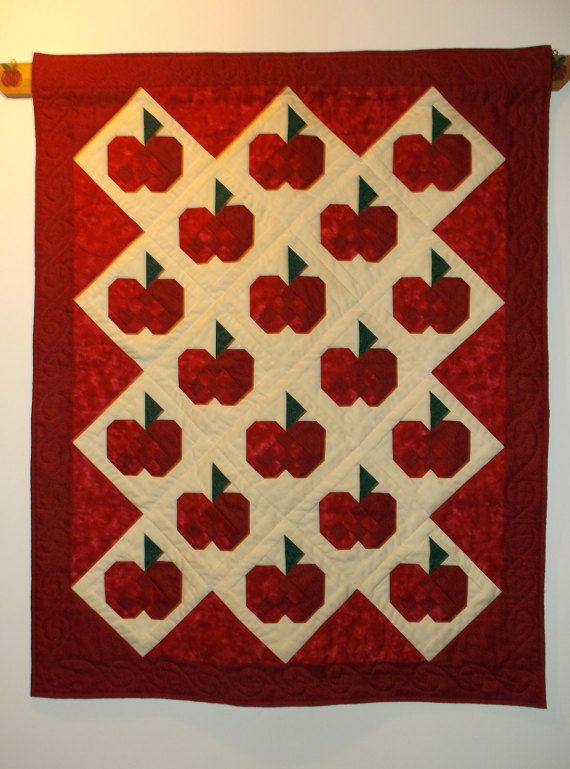 Autumn Apples Quilted Wall Hanging with Hand by MonasChickenRanch