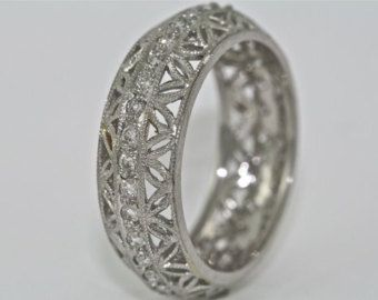 Platinum And Diamond Victorian Style Filigree Wedding Band