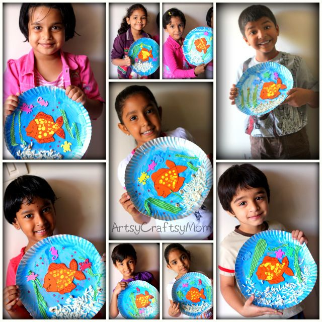 Under the sea paper plate craft- buy water foam sea animals at target