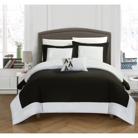 Chic Home 8-Piece Uma Modern TWO Tone Reversible Hotel Collection, with embellished borders and embroidery decor pillow King Bed In a Bag Duvet Set Black With White Sheets included