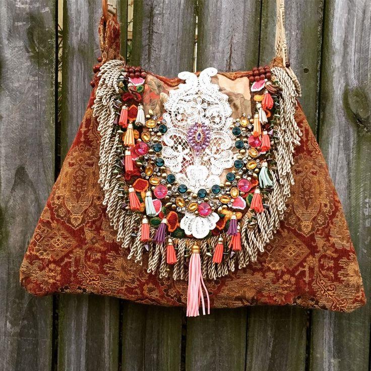 Handmade Feminine Carpet Bag Tribal Boho Hobo Gypsy Chic Victorian Purse B.Joy | eBay