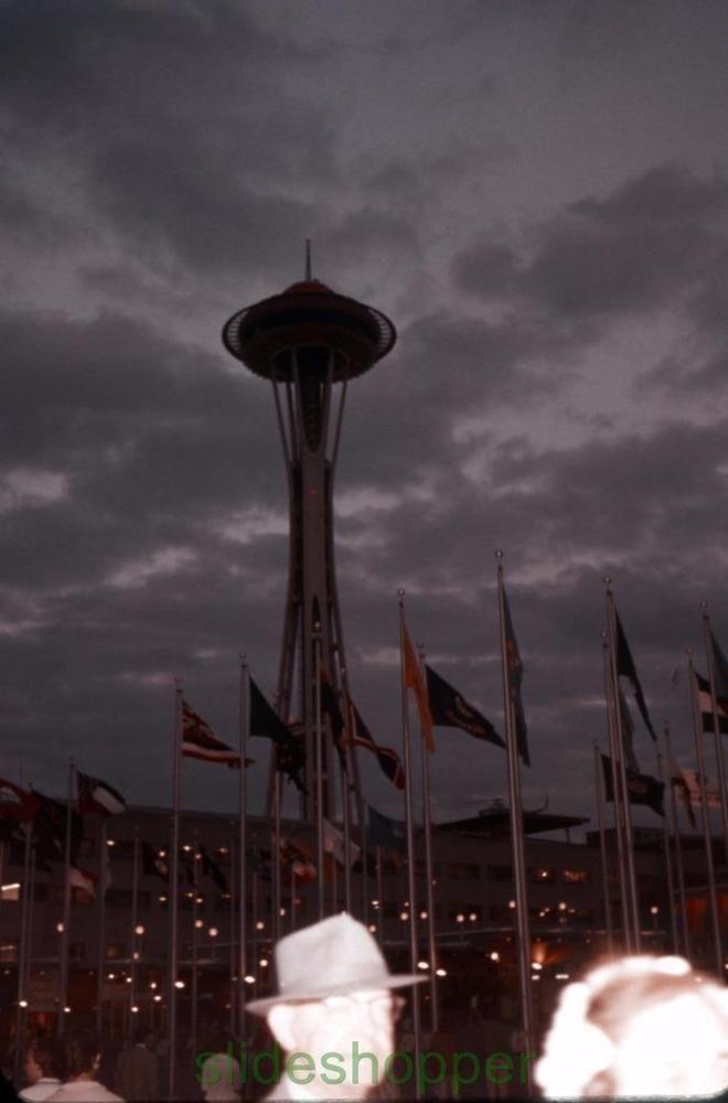 Slide Photo Expo 1962 Seattle World's Fair Dusk View of Orange Space Needle