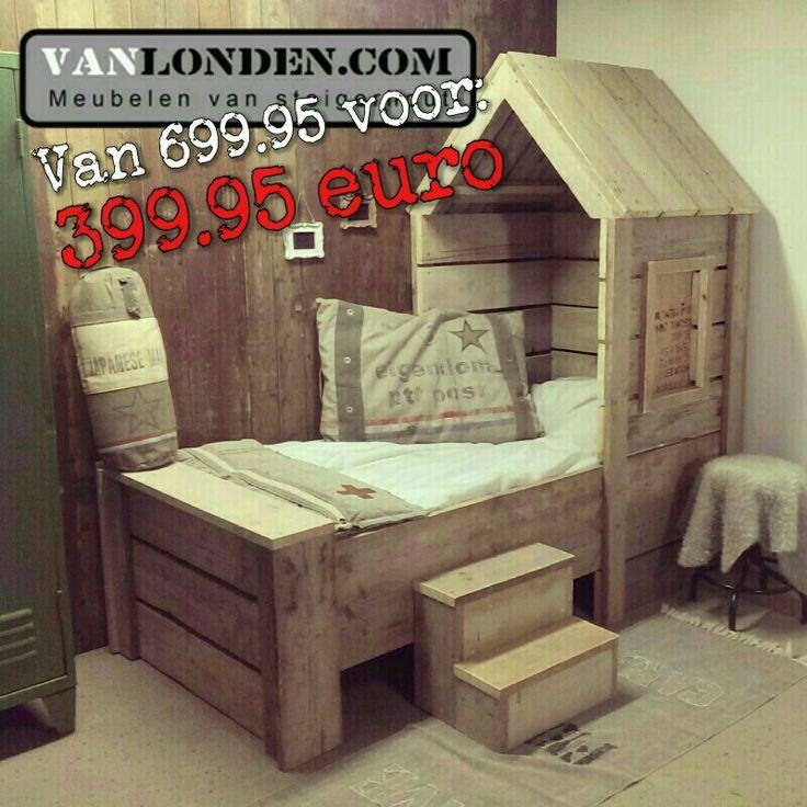 Steigerhouten bed huisje ... Tijdelijk een hele mooie korting... www.vanlonden.com