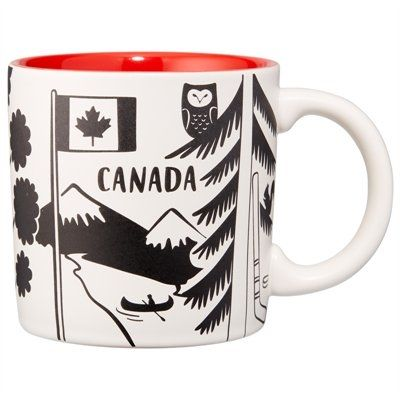 """Oh Canada, there's a lot to love. Show your pride with a generously sized mug that celebrates our great land. It's finished with a wide comfortable handle and a rich glaze at the interior for a pop of fun colour. 12-oz./355ml capacity. 3.5"""" diameter, 3.5"""" tall. Stoneware. Microwave- and dishwasher-safe. Available only at Indigo."""