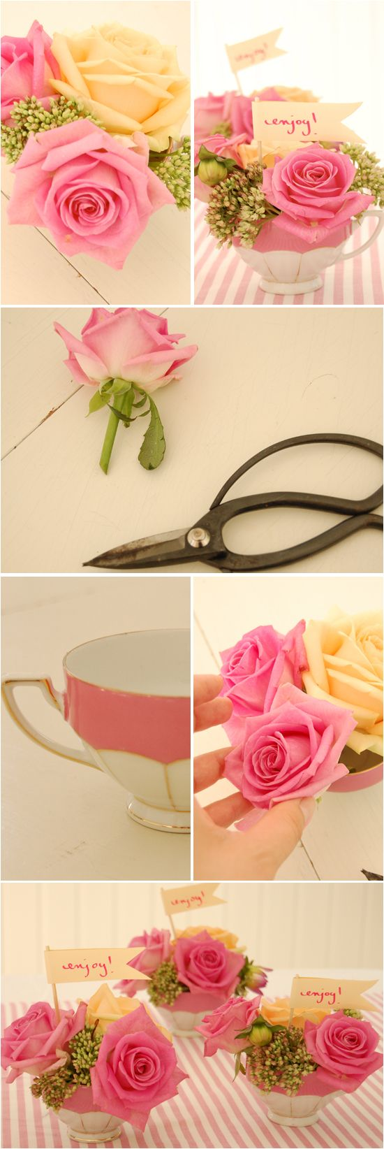 How to make teacup flower arrangements.