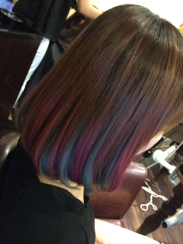 元々グラデーションになってた部分の上半分毛先をカラーバターのピンクで、下半分の毛先もカラーバターのブルーを入れてみました!