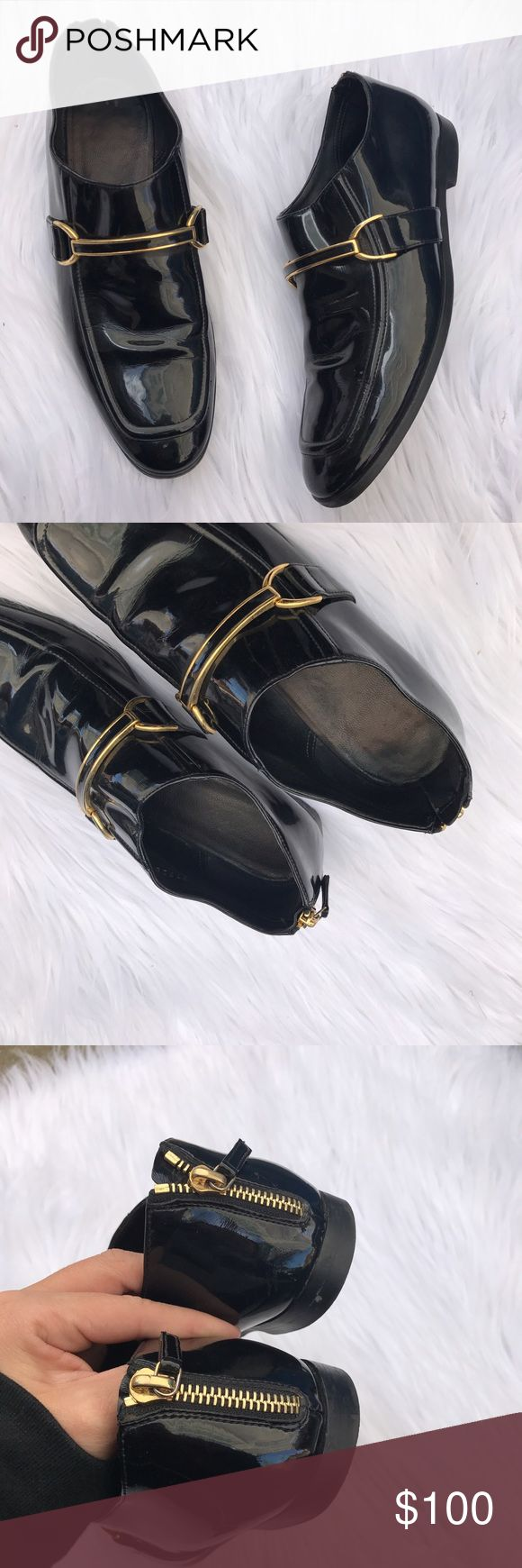 STELLA MCCARTNEY SZ 7.5 BLACK PATENT LEATHER SHOES These are amazing .. even better not we in person .. these are super fancy and super edgy all at the same time , and for a great price since they cost so much for retail:) Stella McCartney Shoes