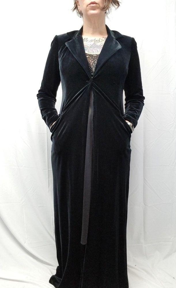 Laundry Shelli Segal Vtg Inspired Black Velvet Long Dressing Gown