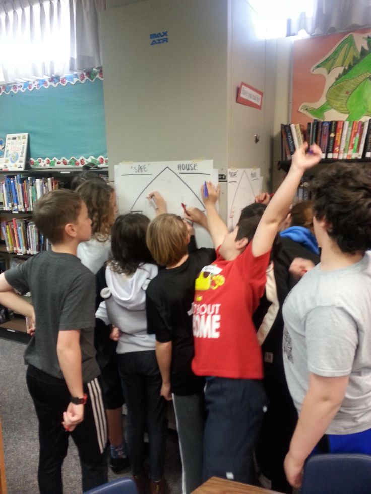 Using the space we have in the library to create posters that reflect our discussion regarding safe vs. unsafe environments during a class at Lord Nelson Elementary School. We have fun, no matter where we are!