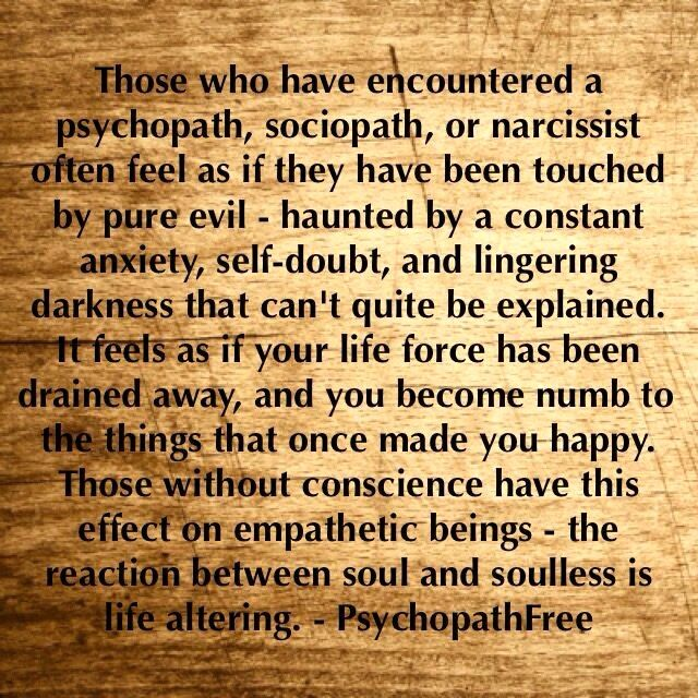Those who have encountered a psychopath, sociopath, or narcissist often feel as if they have been touched by pure EVIL - haunted by a constant anxiety, self-doubt & lingering darkness that can't quite be explained. It feels as if your life force has been drained away & you become numb to the things that once made you happy. Those without conscience have this effect on empathetic beings - the reaction between soul & soulless is life altering.