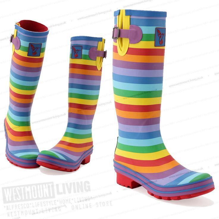 Multi Colour Rainbow Print Wellington Boots