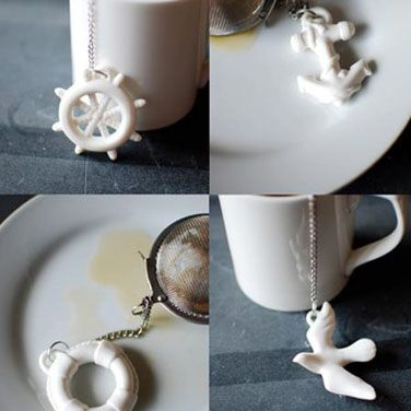 What lovely treasures the Anchors Aweigh Tea Infusers are!   These nautical ceramic charm tea infusers include a Seagull, Lifesaver, Ships Wheel, and of course an Anchor.       Imagine yourself at the helm of your boat watching the seagulls soar overhead, dropping anchor at that undiscovered island all safe and sound.