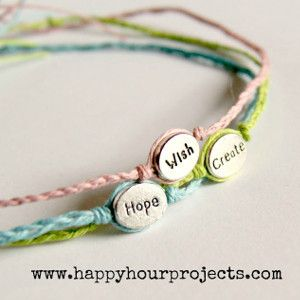 Use a message bead with this braided bracelet pattern to create the Simple Word Bracelet. These are very easy bracelets to make, and since they could be finished in ten minutes or less, why not make a few to give to a friend?