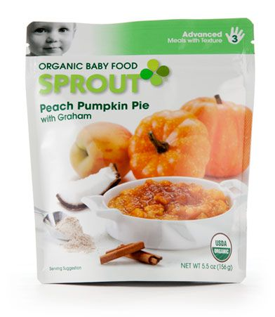 Sprout baby food - chunkier textures, more complex flavors, all natural. Sprout Peach Pumpkin Pie with Graham - endorsed by Tyler Rlorence and smells great, too!!