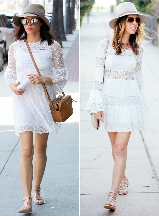 Inspired By: Jenna Dewan's White Boho Look, celebrity style, free people, white, lace, hat, vince camuto