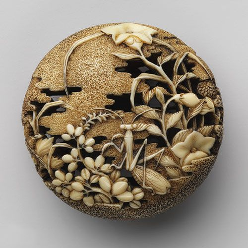 Netsuke: Autumn grasses with praying mantis, 18th century, Attributed to Ryûsa, Japanese, Carved ivory