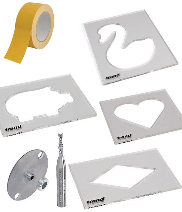 router templates. inlay templates with tape and the router bit guide bush