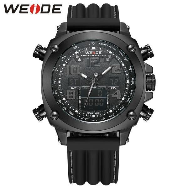 FuzWeb:New Arrival WEIDE Luxury Men's Watches Analog Digital Display LCD Digital Japan Quartz Movement 30m Waterproof Silicone Strap