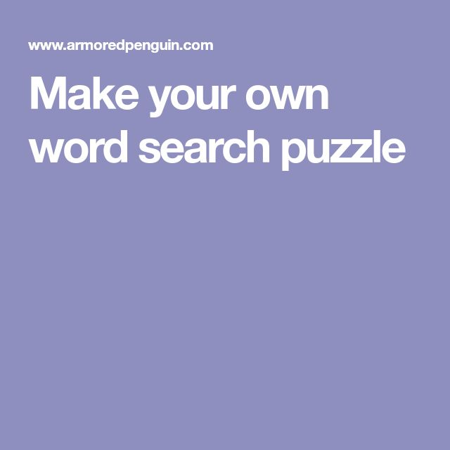 Make your own word search puzzle