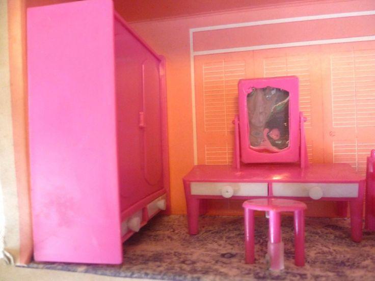 Vintage Dolls House Boxed Mod Furniture Pink Plastic Bedroom Set - Hong Kong | eBay