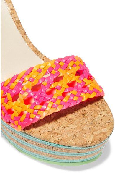 Sophia Webster - Jade Neon Leather And Cork Platform Sandals - Pink - IT38