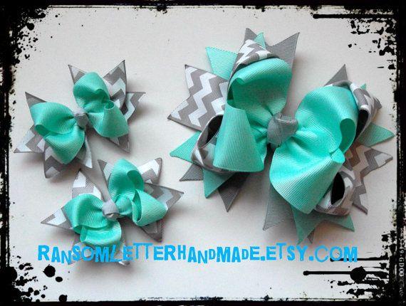 Aqua and Grey Hair Bows Aqua Blue and Gray by ransomletterhandmade Gray Chevron Ribbon Bow Made to Match Dress Aqua dresses Easter Pastel Grey and Aqua baby outfit