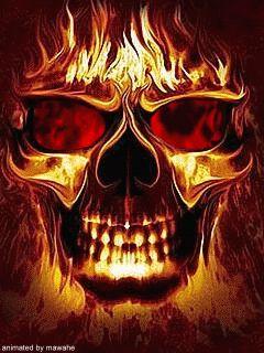 Blue Flaming Skull animated | Free flaming skull 4 phone wallpaper by thejojo