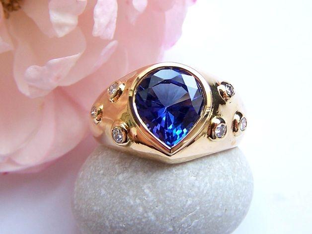 Goldringe - 18KT GG Ring UNIKAT Tansanit, Brill 56,5 EXKLUSIV - ein Designerstück von unikatmeister bei DaWanda